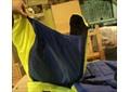 Чехол для ног на санки-коляску, цвет тёмно-синий  с жёлтым-салатовым
